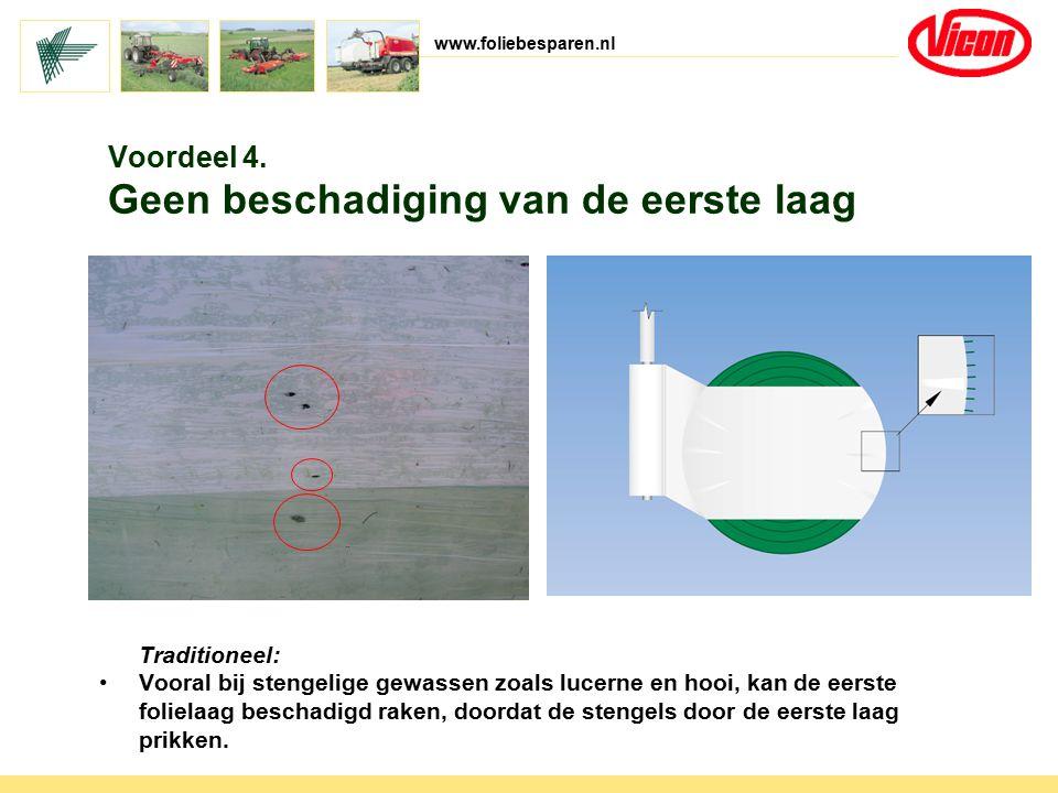 www.foliebesparen.nl Traditioneel: Vooral bij stengelige gewassen zoals lucerne en hooi, kan de eerste folielaag beschadigd raken, doordat de stengels
