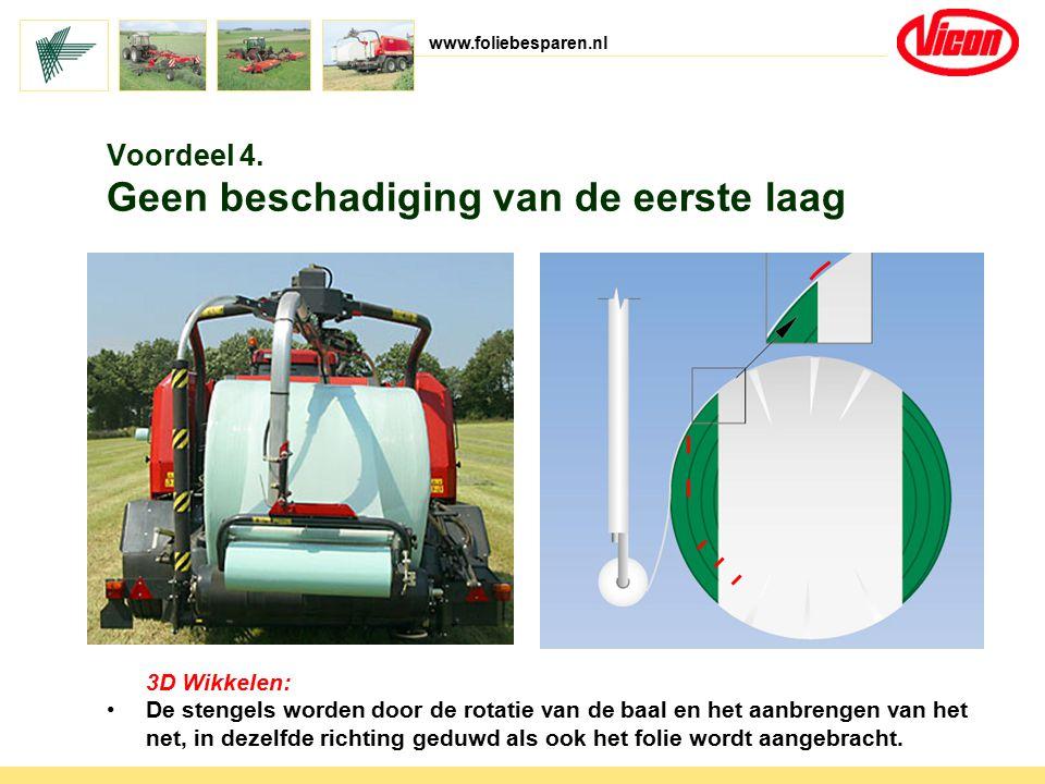 www.foliebesparen.nl 3D Wikkelen: De stengels worden door de rotatie van de baal en het aanbrengen van het net, in dezelfde richting geduwd als ook he