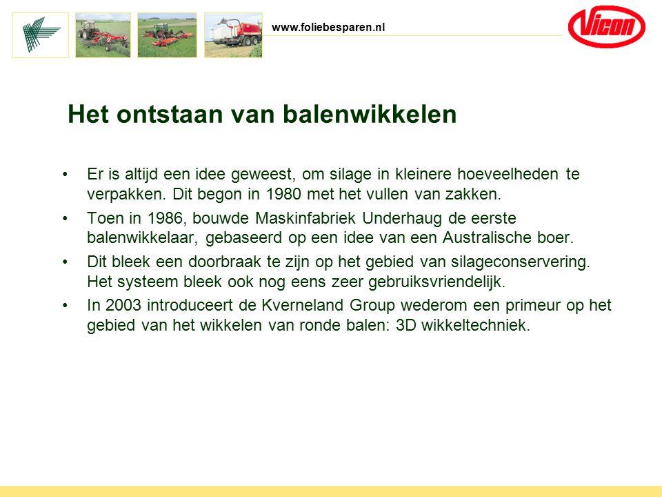 www.foliebesparen.nl Het ontstaan van balenwikkelen Er is altijd een idee geweest, om silage in kleinere hoeveelheden te verpakken. Dit begon in 1980