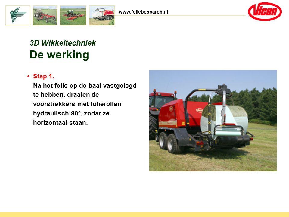 www.foliebesparen.nl 3D Wikkeltechniek De werking Stap 1. Na het folie op de baal vastgelegd te hebben, draaien de voorstrekkers met folierollen hydra
