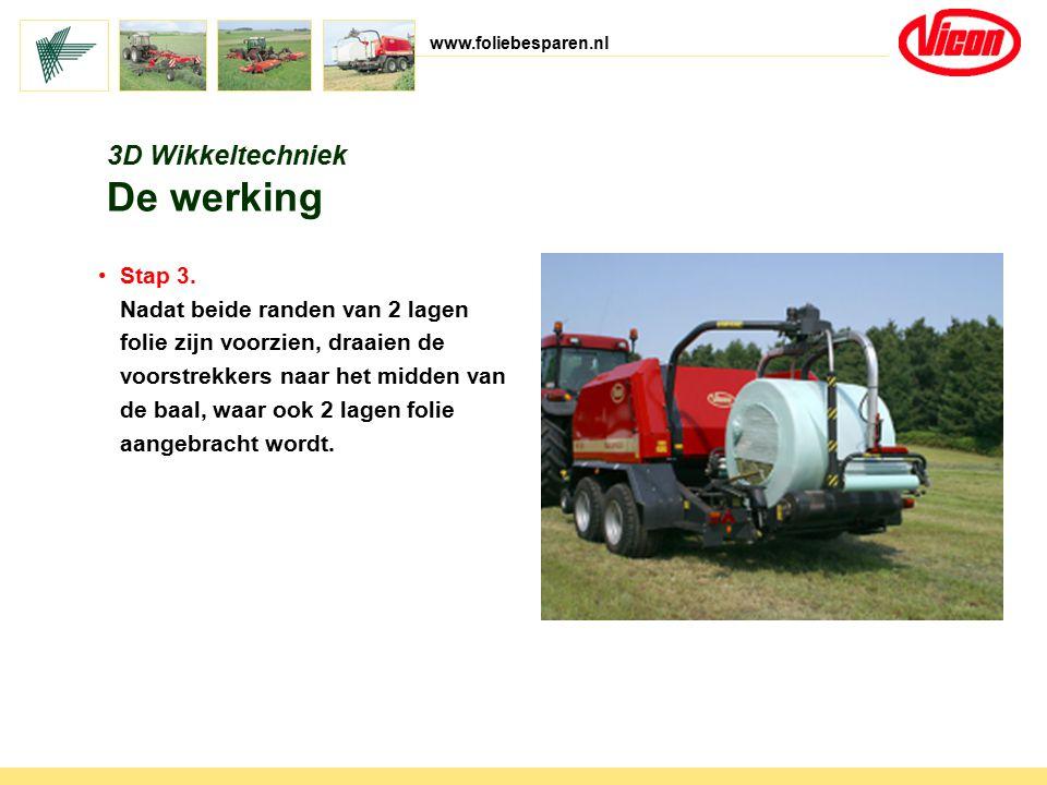www.foliebesparen.nl 3D Wikkeltechniek De werking Stap 3. Nadat beide randen van 2 lagen folie zijn voorzien, draaien de voorstrekkers naar het midden