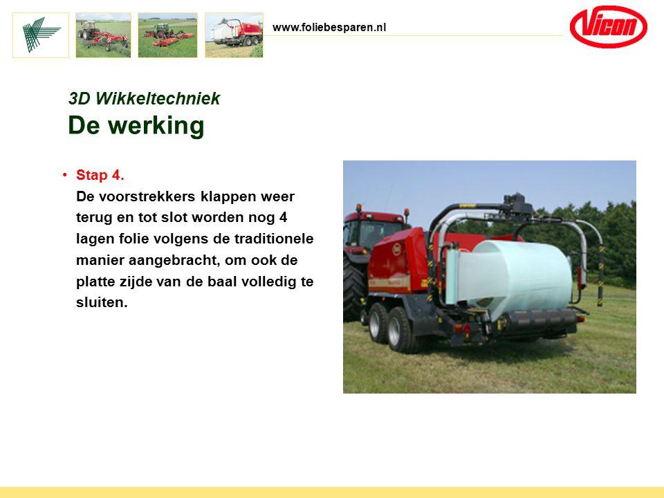 www.foliebesparen.nl 3D Wikkeltechniek De werking Stap 4. De voorstrekkers klappen weer terug en tot slot worden nog 4 lagen folie volgens de traditio