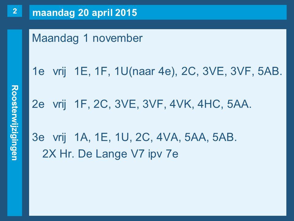 maandag 20 april 2015 Roosterwijzigingen Maandag 1 november 1evrij1E, 1F, 1U(naar 4e), 2C, 3VE, 3VF, 5AB. 2evrij1F, 2C, 3VE, 3VF, 4VK, 4HC, 5AA. 3evri