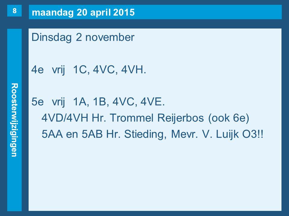 maandag 20 april 2015 Roosterwijzigingen Dinsdag 2 november 4evrij1C, 4VC, 4VH. 5evrij1A, 1B, 4VC, 4VE. 4VD/4VH Hr. Trommel Reijerbos (ook 6e) 5AA en