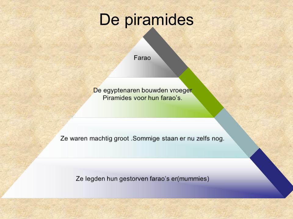 De piramides Farao De egyptenaren bouwden vroeger Piramides voor hun farao's. Ze waren machtig groot.Sommige staan er nu zelfs nog. Ze legden hun gest