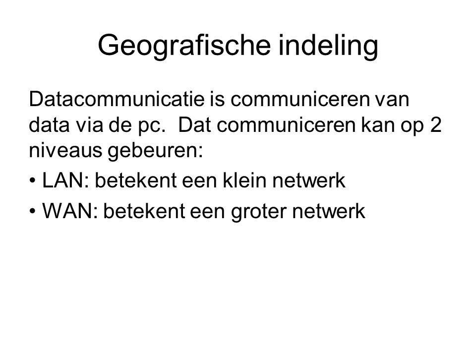 Geografische indeling Datacommunicatie is communiceren van data via de pc. Dat communiceren kan op 2 niveaus gebeuren: LAN: betekent een klein netwerk