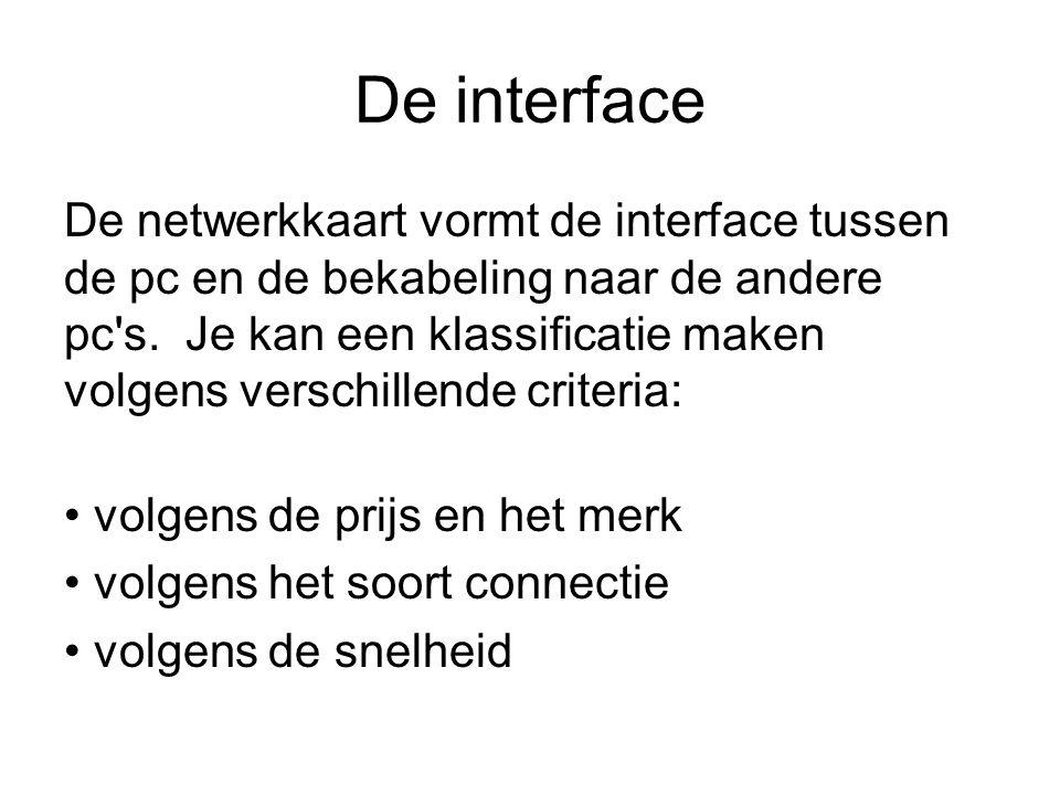 De interface De netwerkkaart vormt de interface tussen de pc en de bekabeling naar de andere pc's. Je kan een klassificatie maken volgens verschillend