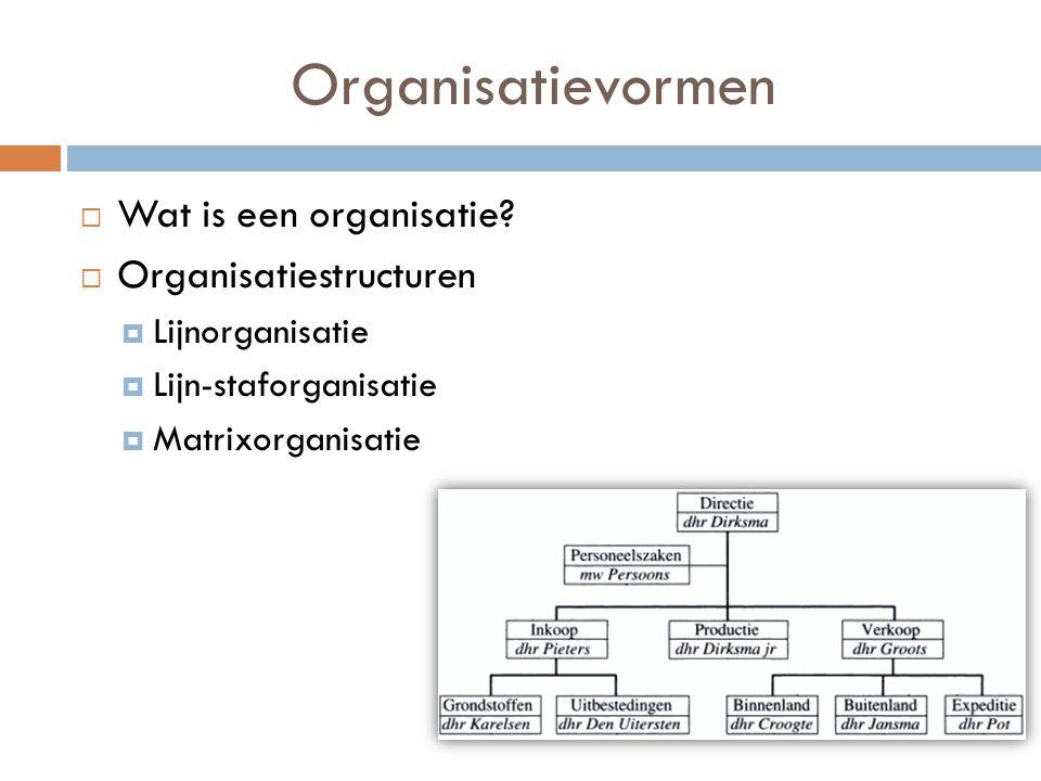 Organisatievormen  Wat is een organisatie?  Organisatiestructuren  Lijnorganisatie  Lijn-staforganisatie  Matrixorganisatie