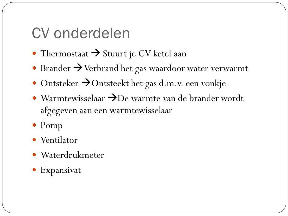 CV onderdelen Thermostaat  Stuurt je CV ketel aan Brander  Verbrand het gas waardoor water verwarmt Ontsteker  Ontsteekt het gas d.m.v.