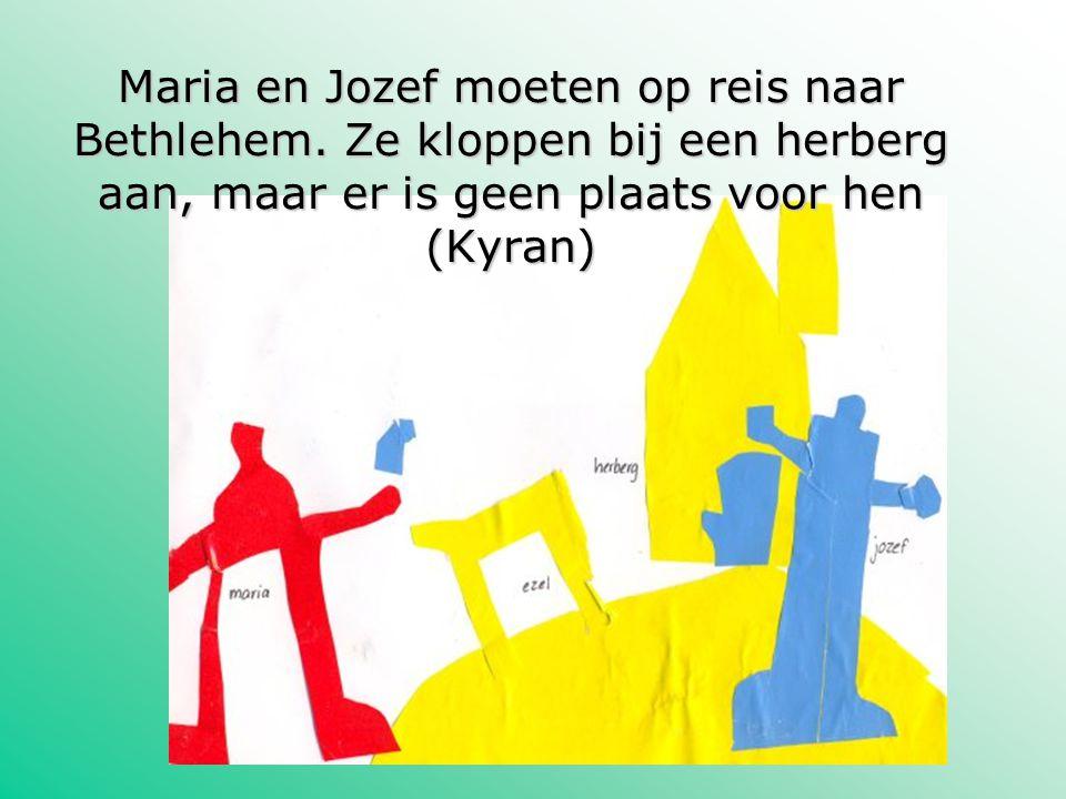 Maria en Jozef moeten op reis naar Bethlehem. Ze kloppen bij een herberg aan, maar er is geen plaats voor hen (Kyran)