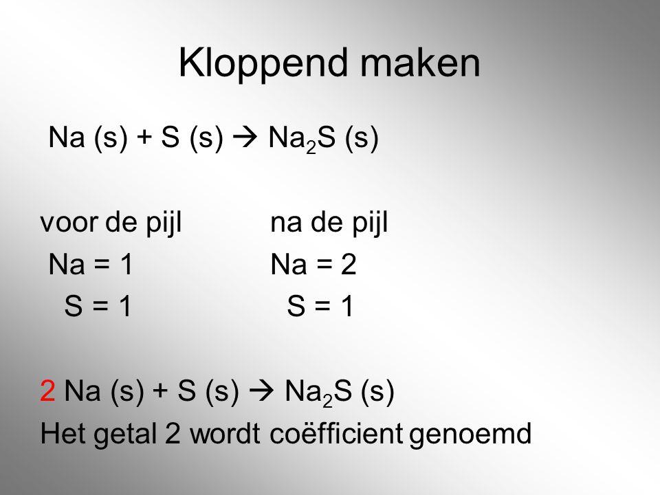 Kloppend maken Na (s) + S (s)  Na 2 S (s) voor de pijl na de pijl Na = 1 Na = 2 S = 1 S = 1 2 Na (s) + S (s)  Na 2 S (s) Het getal 2 wordt coëfficie