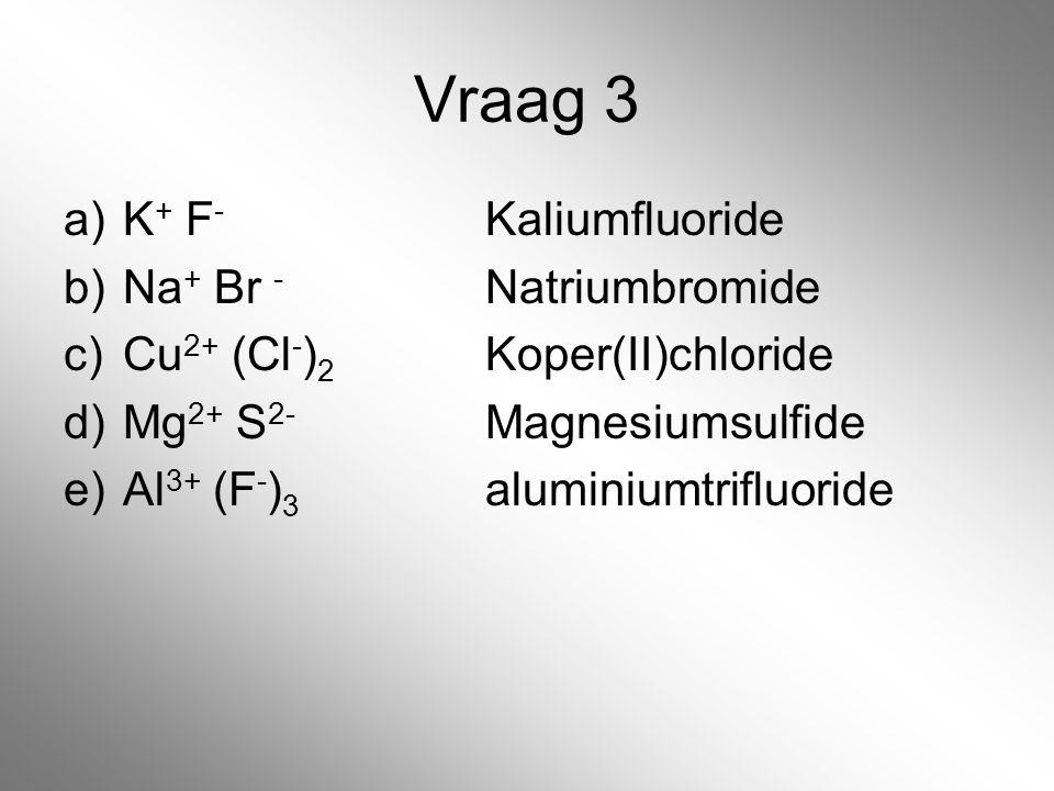 Vraag 3 a)K + F - Kaliumfluoride b)Na + Br - Natriumbromide c)Cu 2+ (Cl - ) 2 Koper(II)chloride d)Mg 2+ S 2- Magnesiumsulfide e)Al 3+ (F - ) 3 alumini