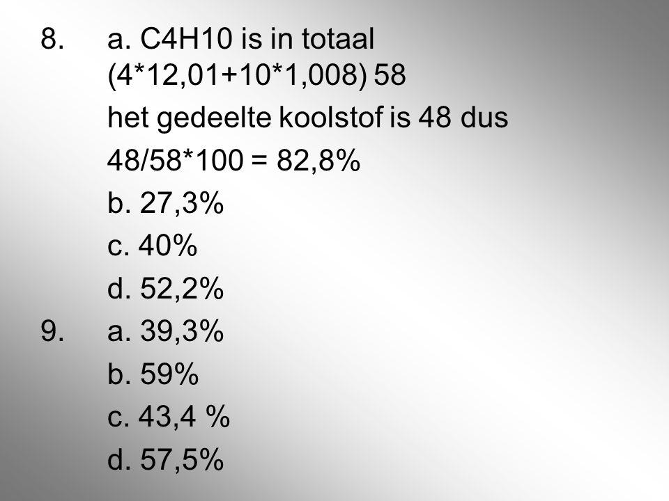 8. a. C4H10 is in totaal (4*12,01+10*1,008) 58 het gedeelte koolstof is 48 dus 48/58*100 = 82,8% b. 27,3% c. 40% d. 52,2% 9.a. 39,3% b. 59% c. 43,4 %