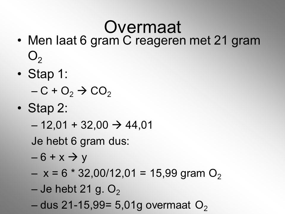 Overmaat Men laat 6 gram C reageren met 21 gram O 2 Stap 1: –C + O 2  CO 2 Stap 2: –12,01 + 32,00  44,01 Je hebt 6 gram dus: –6 + x  y – x = 6 * 32