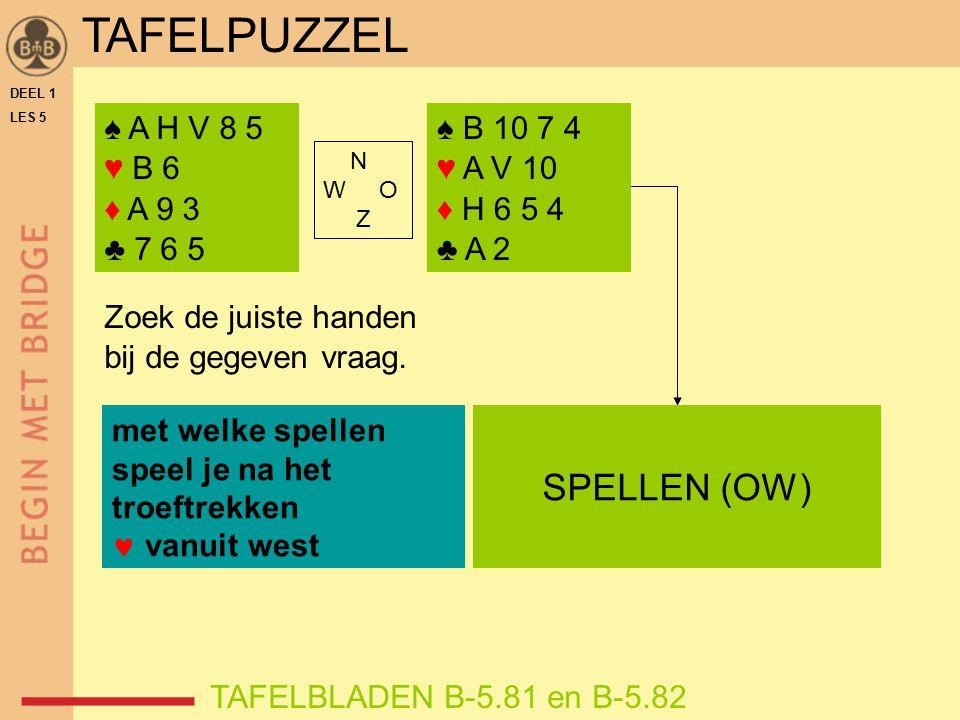 DEEL 1 LES 5 ♠ A H V 8 5 ♥ B 6 ♦ A 9 3 ♣ 7 6 5 TAFELBLADEN B-5.81 en B-5.82 Zoek de juiste handen bij de gegeven vraag. met welke spellen speel je na