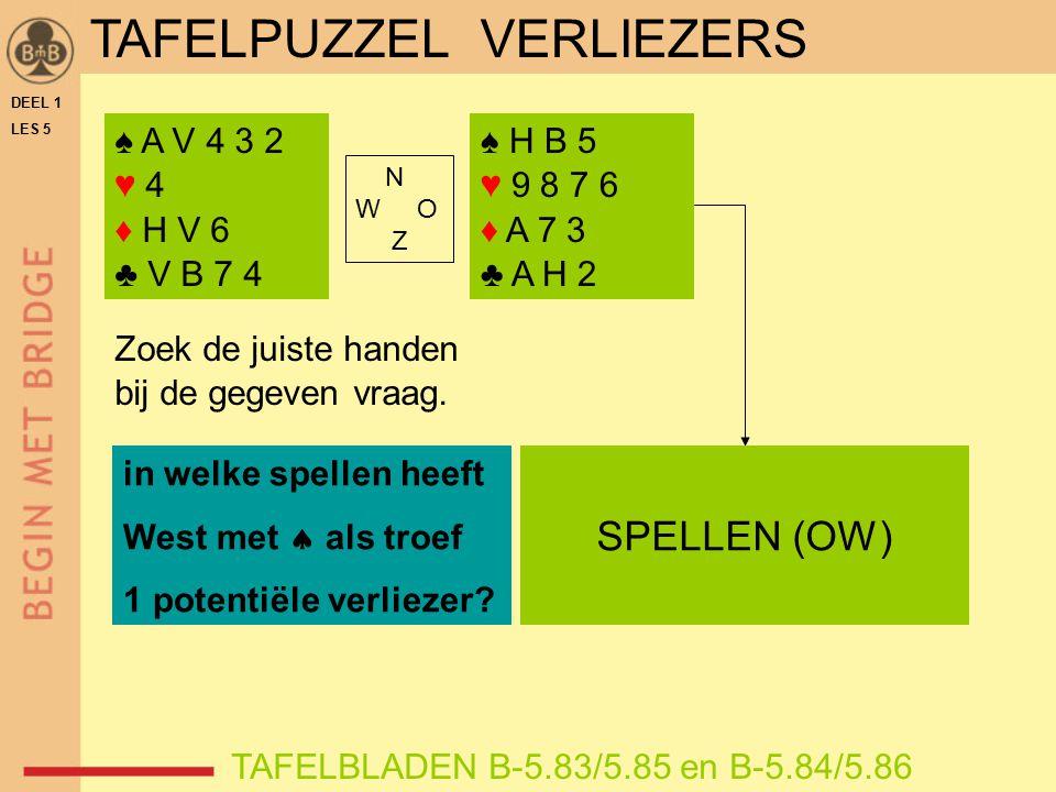 DEEL 1 LES 5 ♠ A V 4 3 2 ♥ 4 ♦ H V 6 ♣ V B 7 4 TAFELBLADEN B-5.83/5.85 en B-5.84/5.86 Zoek de juiste handen bij de gegeven vraag. in welke spellen hee