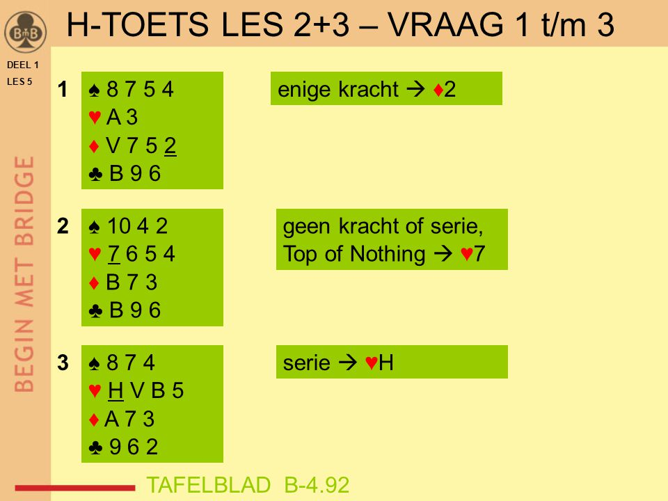 DEEL 1 LES 5 ♠ 8 7 5 4 ♥ A 3 ♦ V 7 5 2 ♣ B 9 6 ♠ 10 4 2 ♥ 7 6 5 4 ♦ B 7 3 ♣ B 9 6 ♠ 8 7 4 ♥ H V B 5 ♦ A 7 3 ♣ 9 6 2 1enige kracht  ♦2 2 3 geen kracht of serie, Top of Nothing  ♥7 serie  ♥H TAFELBLAD B-4.92 H-TOETS LES 2+3 – VRAAG 1 t/m 3