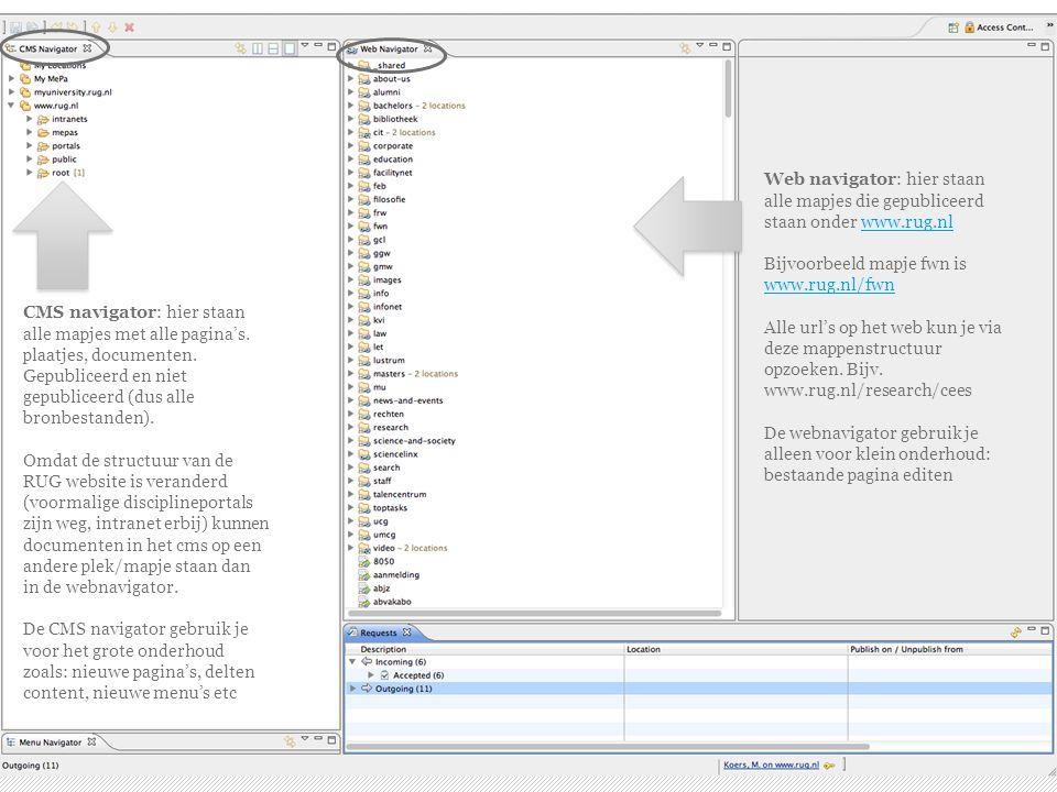 20-4-2015 | 5 Web navigator: hier staan alle mapjes die gepubliceerd staan onder www.rug.nlwww.rug.nl Bijvoorbeeld mapje fwn is www.rug.nl/fwn Alle url's op het web kun je via deze mappenstructuur opzoeken.