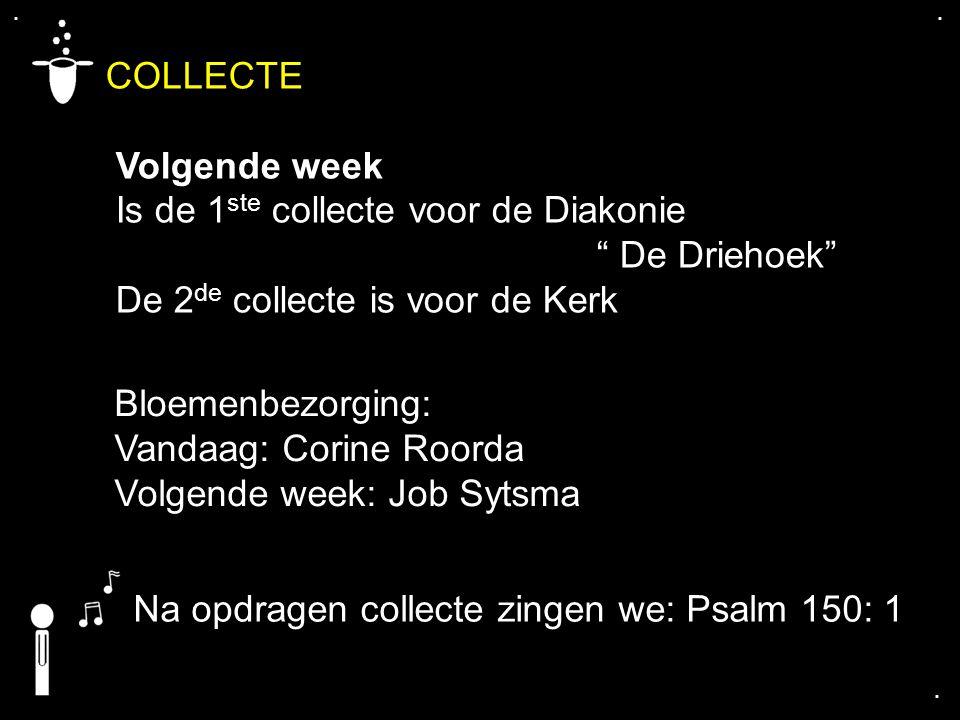 """.... COLLECTE Volgende week Is de 1 ste collecte voor de Diakonie """" De Driehoek"""" De 2 de collecte is voor de Kerk Bloemenbezorging: Vandaag: Corine Ro"""
