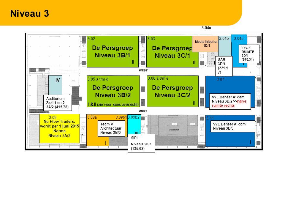 Niveau 4 De Persgroep Niveau 4D/1 De Persgroep Niveau 4C/1 De Persgroep Niveau 4A/1 De Persgroep Niveau 4B/1 4.02 4.044.03 4.01 De Persgroep Niveau 4C/2 4.06 4.114.08 4.10 4.09A 4.07 4.09B II IV II III Flow Traders Sportzaal Niveau 4B/3 4 e EI (195) Flow Traders ruimte leeg tot ???.