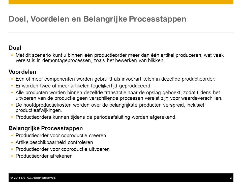 ©2011 SAP AG. All rights reserved.2 Doel, Voordelen en Belangrijke Processtappen Doel  Met dit scenario kunt u binnen één productieorder meer dan één