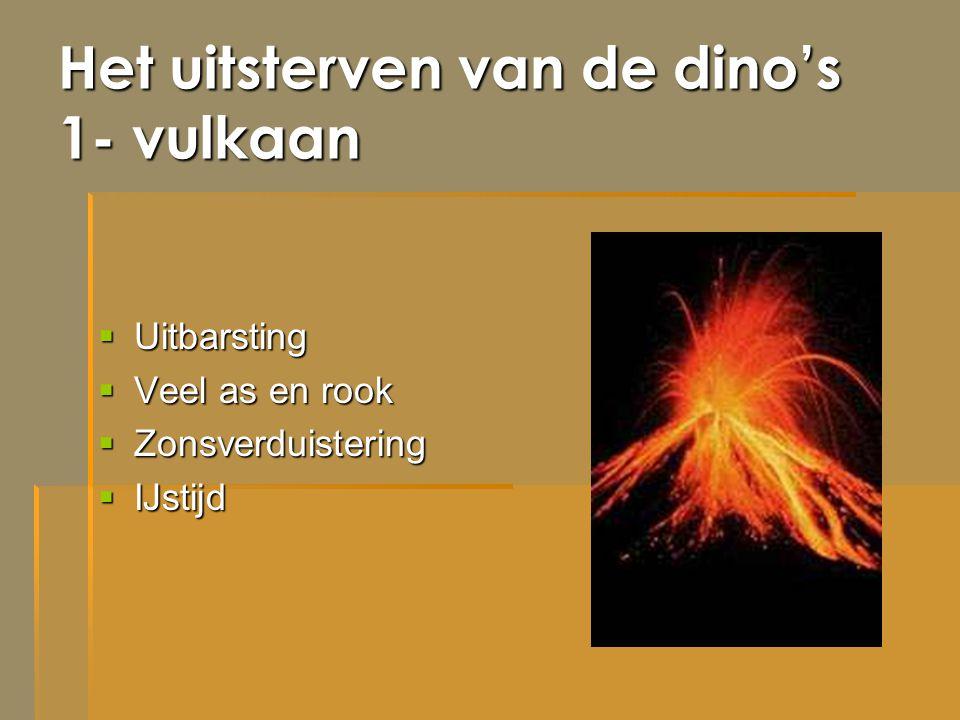 Het uitsterven van de dino's 1- vulkaan  Uitbarsting  Veel as en rook  Zonsverduistering  IJstijd