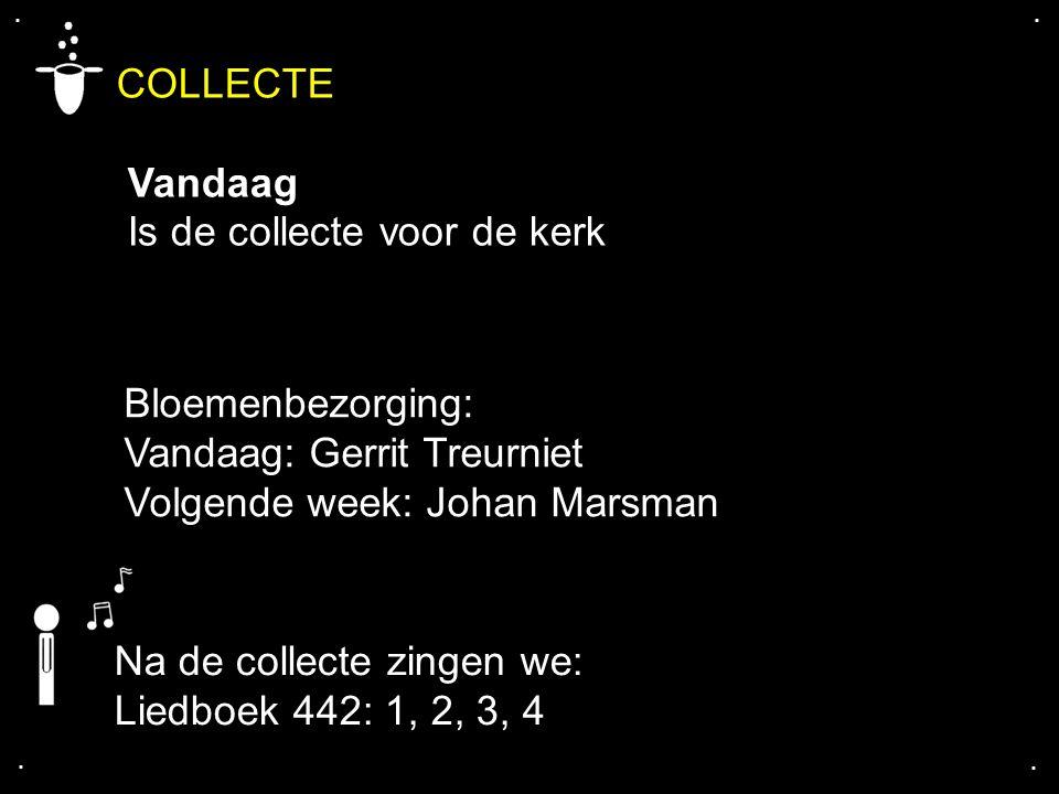.... COLLECTE Vandaag Is de collecte voor de kerk Na de collecte zingen we: Liedboek 442: 1, 2, 3, 4 Bloemenbezorging: Vandaag: Gerrit Treurniet Volge