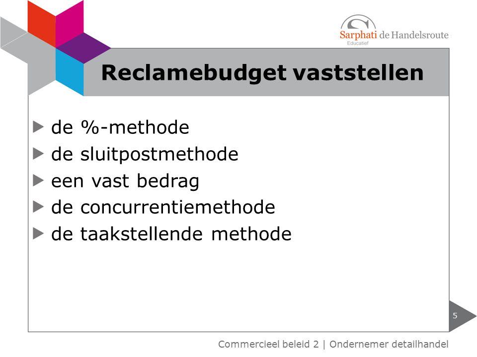 de %-methode de sluitpostmethode een vast bedrag de concurrentiemethode de taakstellende methode 5 Reclamebudget vaststellen Commercieel beleid 2 | On