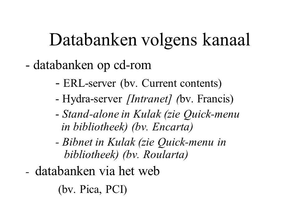 Databanken volgens kanaal - databanken op cd-rom - ERL-server (bv.