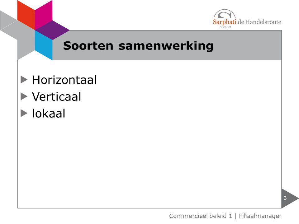 Horizontaal Verticaal lokaal 3 Commercieel beleid 1 | Filiaalmanager Soorten samenwerking