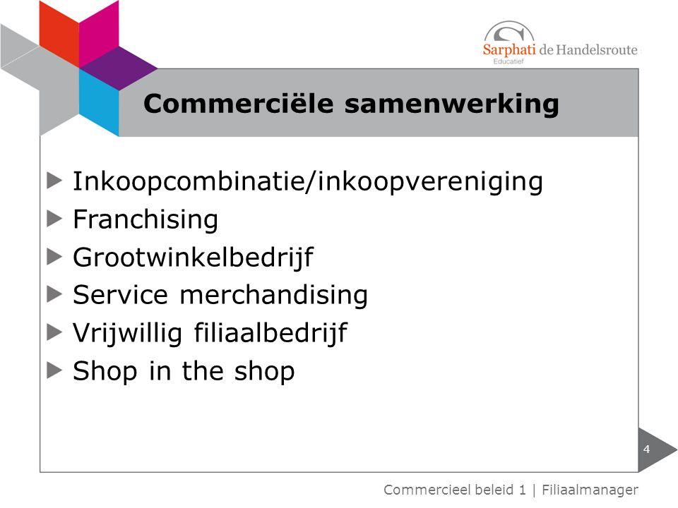Inkoopcombinatie/inkoopvereniging Franchising Grootwinkelbedrijf Service merchandising Vrijwillig filiaalbedrijf Shop in the shop 4 Commercieel beleid 1 | Filiaalmanager Commerciële samenwerking