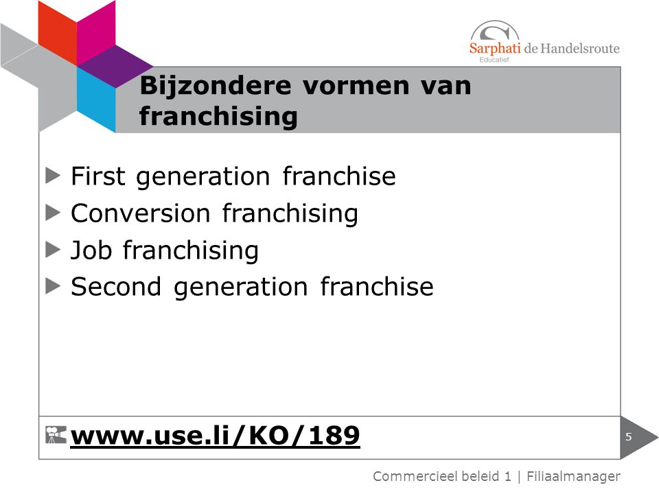 First generation franchise Conversion franchising Job franchising Second generation franchise 5 Commercieel beleid 1 | Filiaalmanager Bijzondere vormen van franchising www.use.li/KO/189