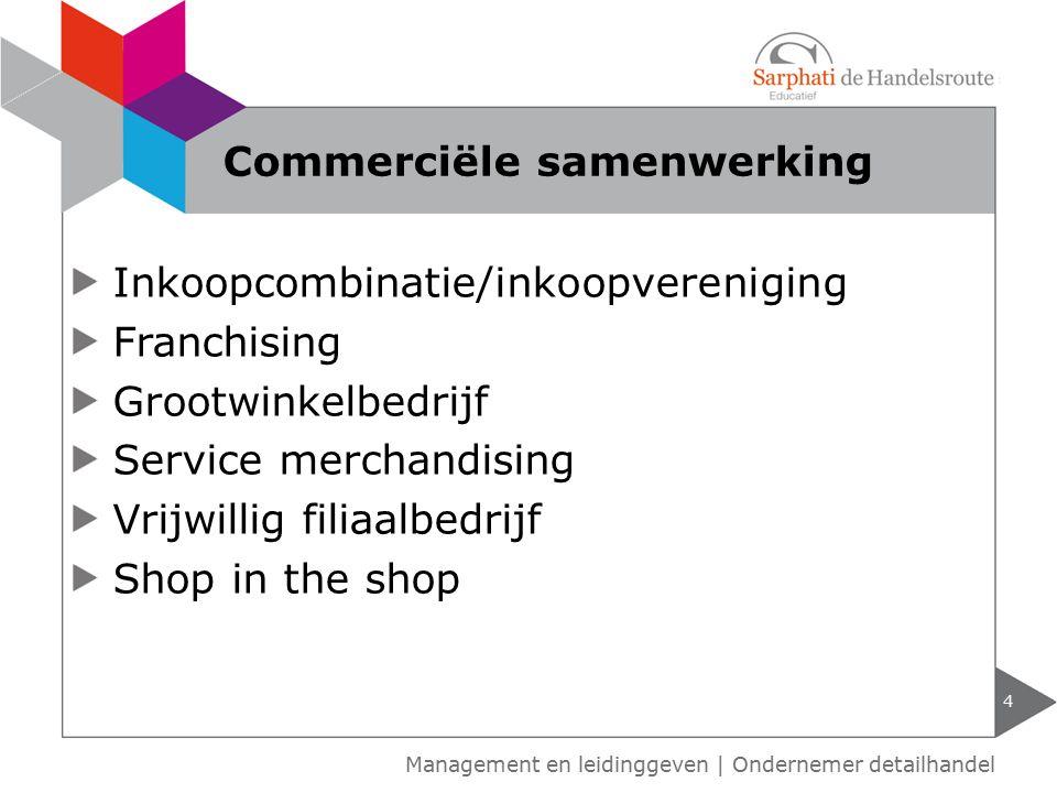 Inkoopcombinatie/inkoopvereniging Franchising Grootwinkelbedrijf Service merchandising Vrijwillig filiaalbedrijf Shop in the shop 4 Commerciële samenw