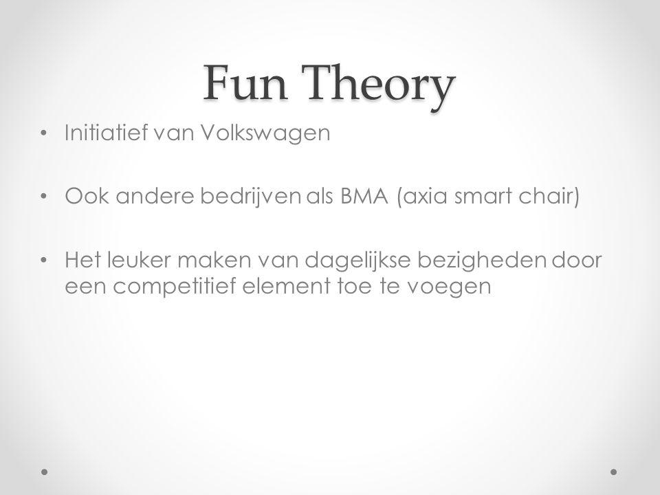 Fun Theory Initiatief van Volkswagen Ook andere bedrijven als BMA (axia smart chair) Het leuker maken van dagelijkse bezigheden door een competitief element toe te voegen