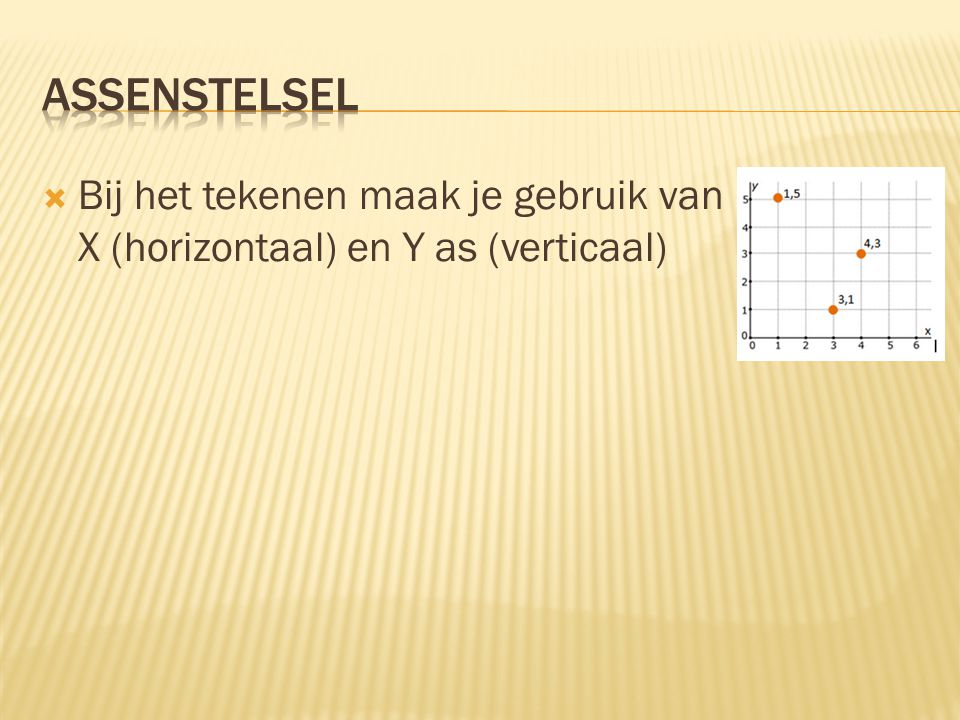  Bij het tekenen maak je gebruik van X (horizontaal) en Y as (verticaal)
