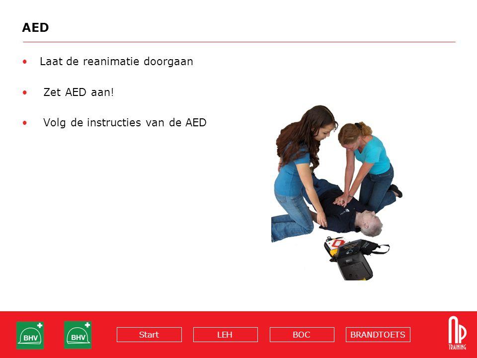 BRANDTOETSBOCLEHStart AED Laat de reanimatie doorgaan Zet AED aan! Volg de instructies van de AED