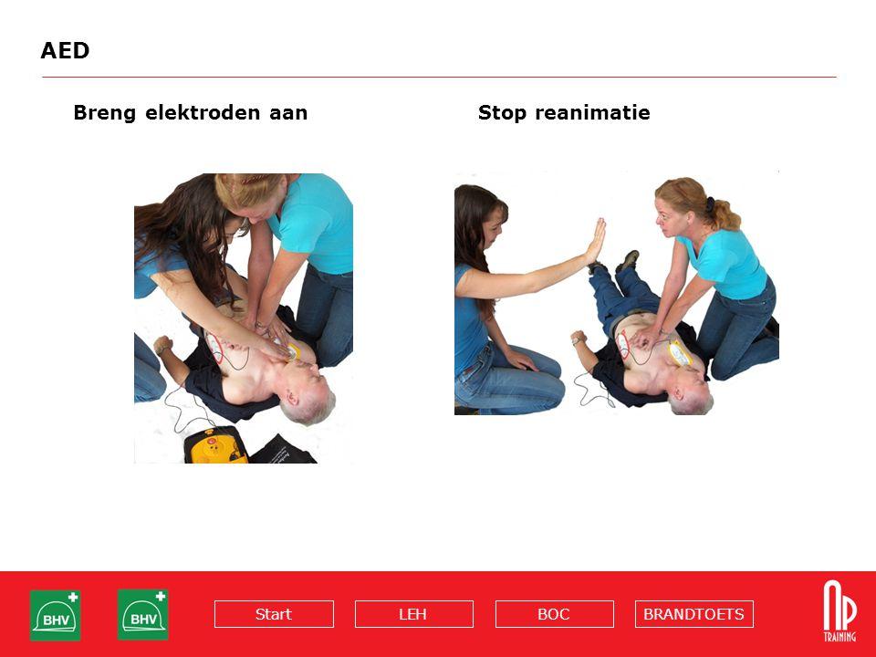 BRANDTOETSBOCLEHStart AED Breng elektroden aanStop reanimatie