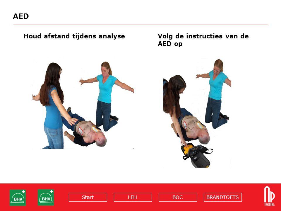 BRANDTOETSBOCLEHStart AED Houd afstand tijdens analyse Volg de instructies van de AED op