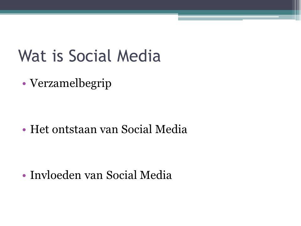 Wat is Social Media Verzamelbegrip Het ontstaan van Social Media Invloeden van Social Media