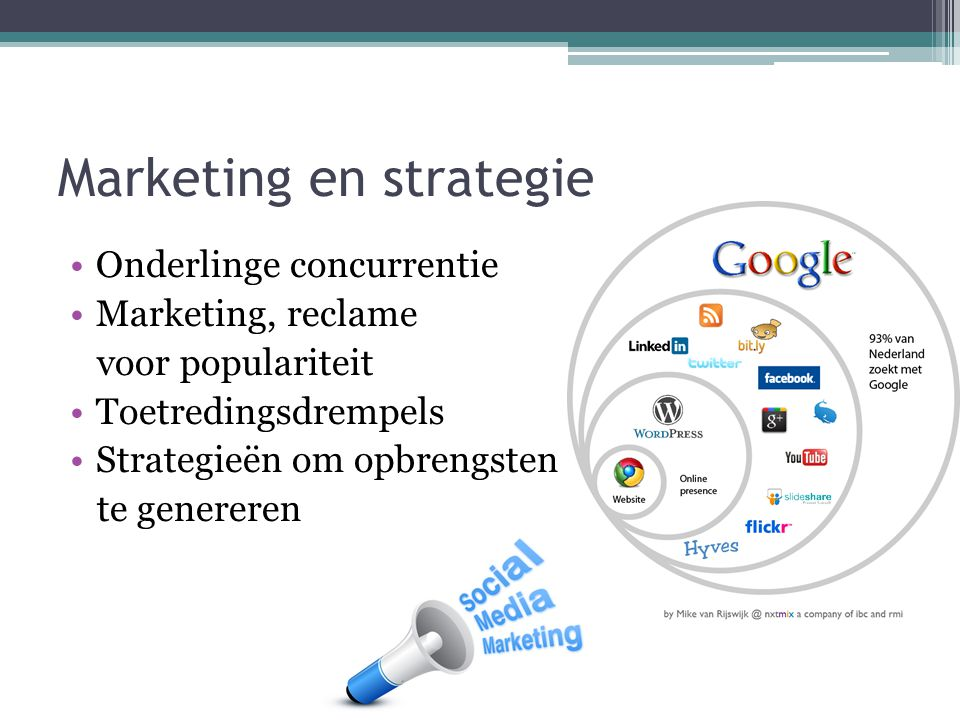 Marketing en strategie Onderlinge concurrentie Marketing, reclame voor populariteit Toetredingsdrempels Strategieën om opbrengsten te genereren