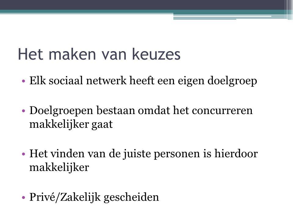 Het maken van keuzes Elk sociaal netwerk heeft een eigen doelgroep Doelgroepen bestaan omdat het concurreren makkelijker gaat Het vinden van de juiste personen is hierdoor makkelijker Privé/Zakelijk gescheiden