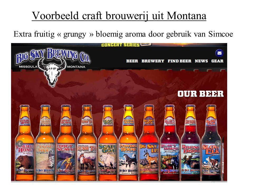 Voorbeeld craft brouwerij uit Montana Extra fruitig « grungy » bloemig aroma door gebruik van Simcoe