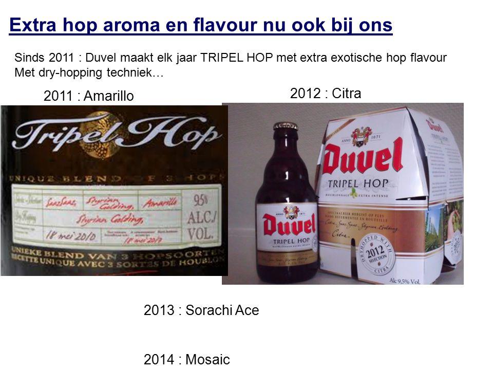 Extra hop aroma en flavour nu ook bij ons Sinds 2011 : Duvel maakt elk jaar TRIPEL HOP met extra exotische hop flavour Met dry-hopping techniek… 2011