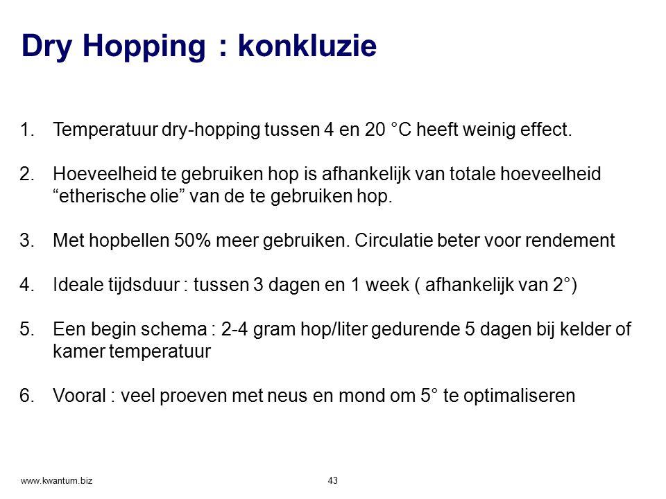 Dry Hopping : konkluzie www.kwantum.biz 43 1.Temperatuur dry-hopping tussen 4 en 20 °C heeft weinig effect. 2.Hoeveelheid te gebruiken hop is afhankel