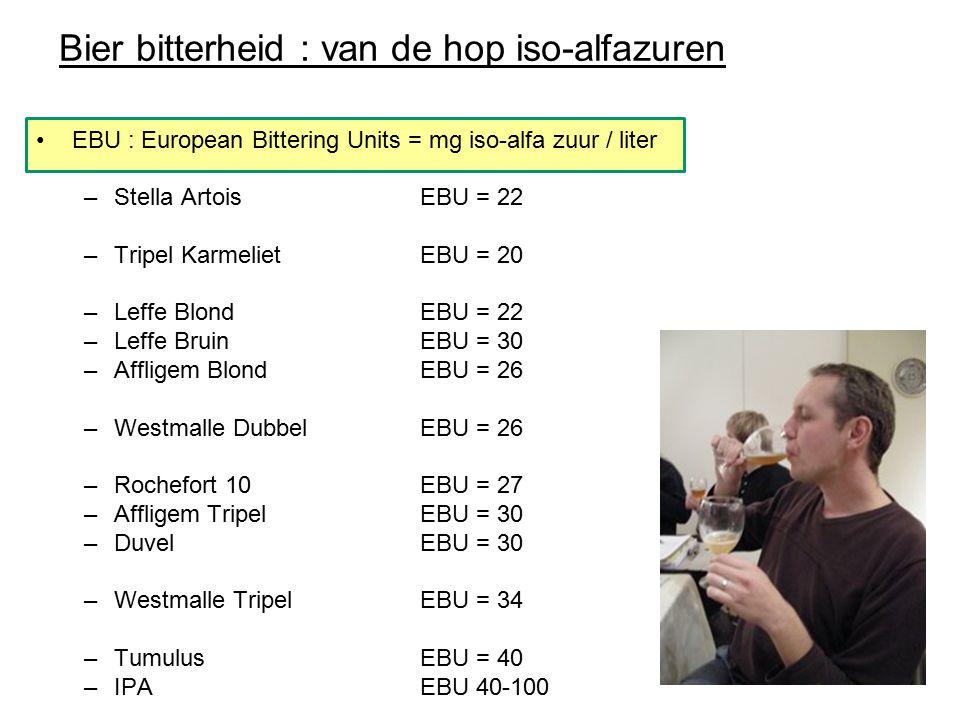 Bier bitterheid : van de hop iso-alfazuren EBU : European Bittering Units = mg iso-alfa zuur / liter –Stella ArtoisEBU = 22 –Tripel KarmelietEBU = 20