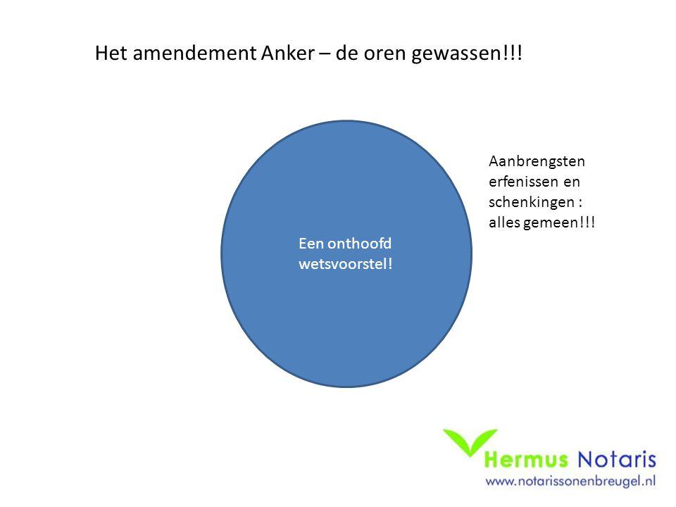 Een onthoofd wetsvoorstel! Het amendement Anker – de oren gewassen!!! Aanbrengsten erfenissen en schenkingen : alles gemeen!!!