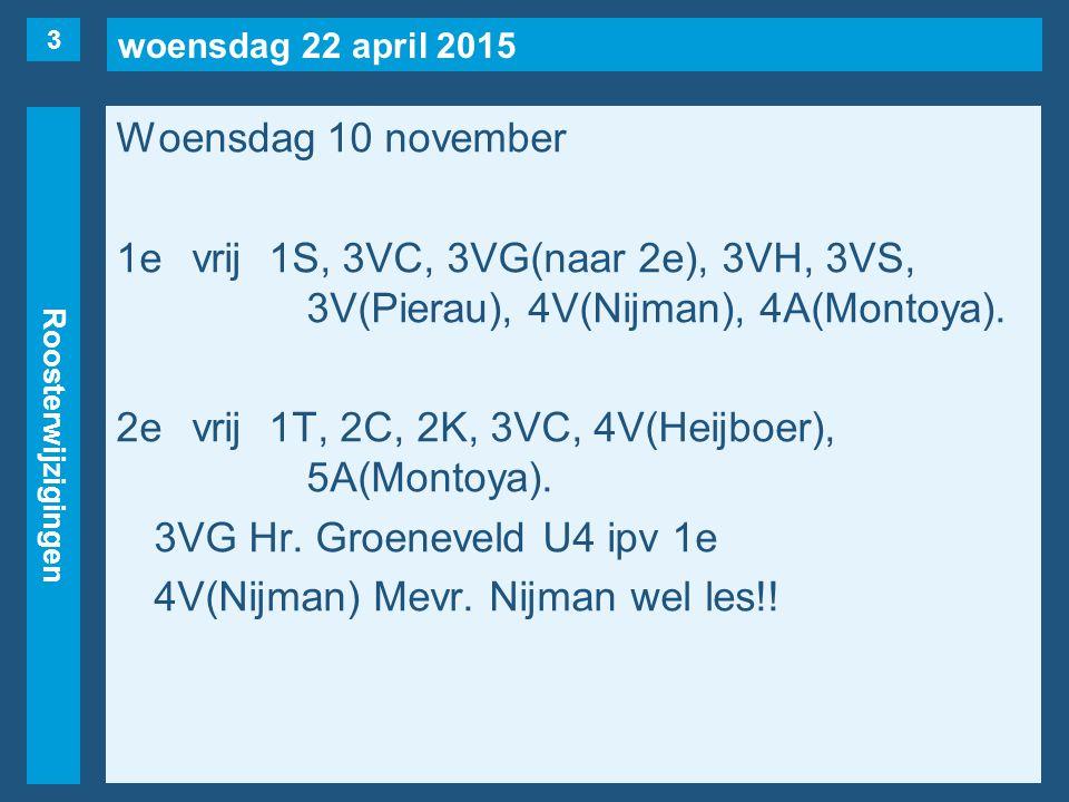 woensdag 22 april 2015 Roosterwijzigingen Woensdag 10 november 1evrij1S, 3VC, 3VG(naar 2e), 3VH, 3VS, 3V(Pierau), 4V(Nijman), 4A(Montoya). 2evrij1T, 2