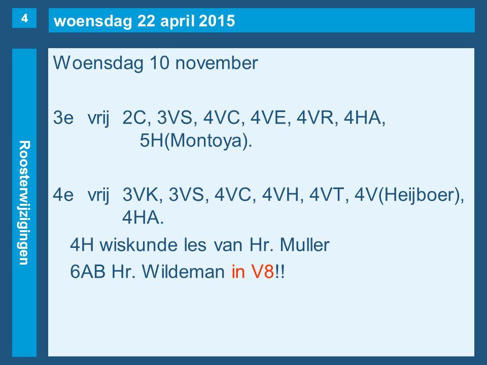 woensdag 22 april 2015 Roosterwijzigingen Woensdag 10 november 3evrij2C, 3VS, 4VC, 4VE, 4VR, 4HA, 5H(Montoya). 4evrij3VK, 3VS, 4VC, 4VH, 4VT, 4V(Heijb