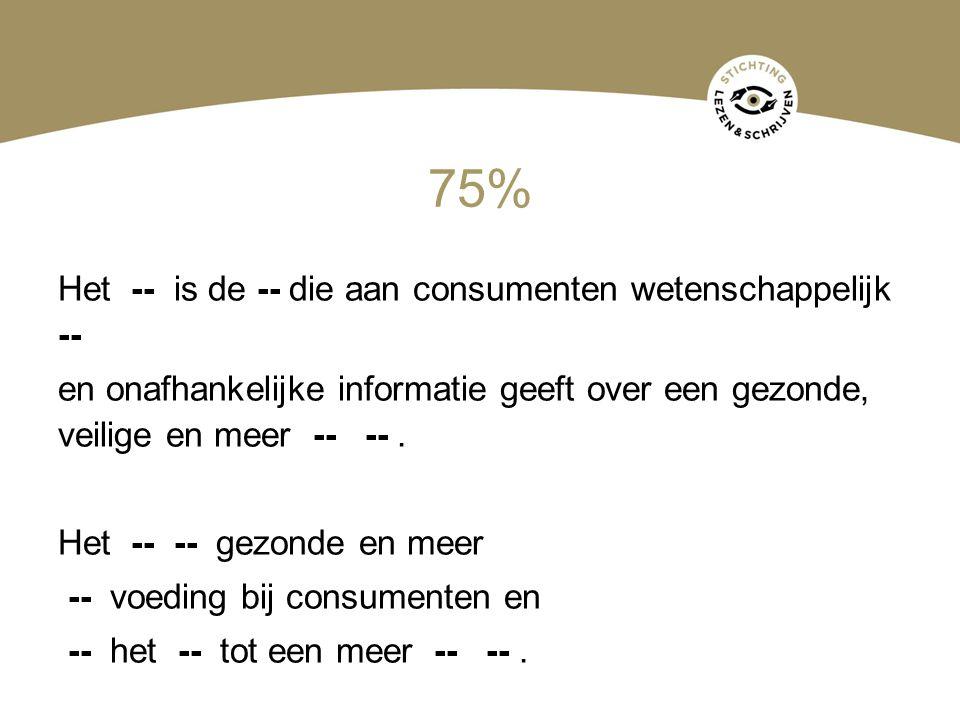 75% Het -- is de -- die aan consumenten wetenschappelijk -- en onafhankelijke informatie geeft over een gezonde, veilige en meer -- --. Het -- -- gezo