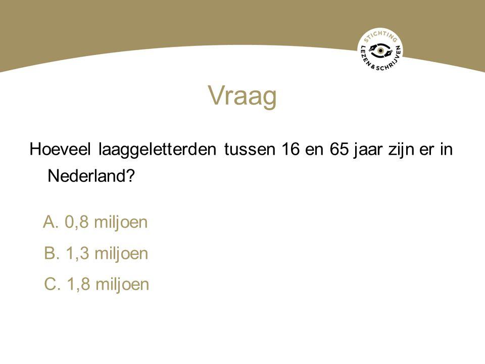 Vraag Hoeveel laaggeletterden tussen 16 en 65 jaar zijn er in Nederland? A. 0,8 miljoen B. 1,3 miljoen C. 1,8 miljoen
